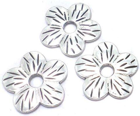 10 Pcs. German Silver Flower Beads 22mm