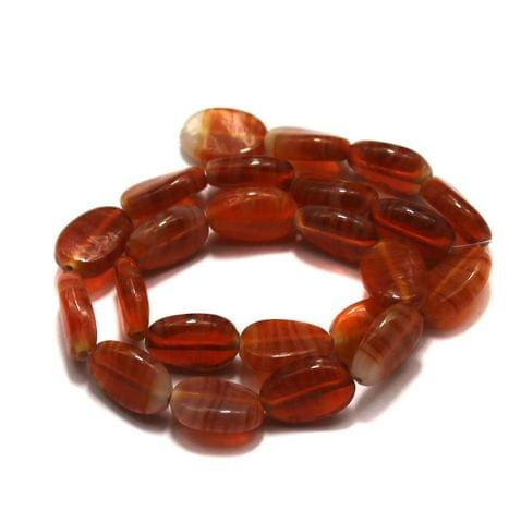 5 strings of Glass Oval Beads Double Tone 20x12mm