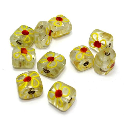 10+ Silver Foil Flower Beads Yellow 13x16mm
