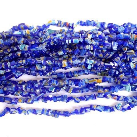 155+ Millefiori Glass Chips Blue 4-6mm