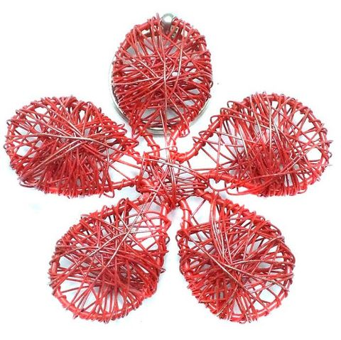 Wire Mesh Flower Beads Red 78mm