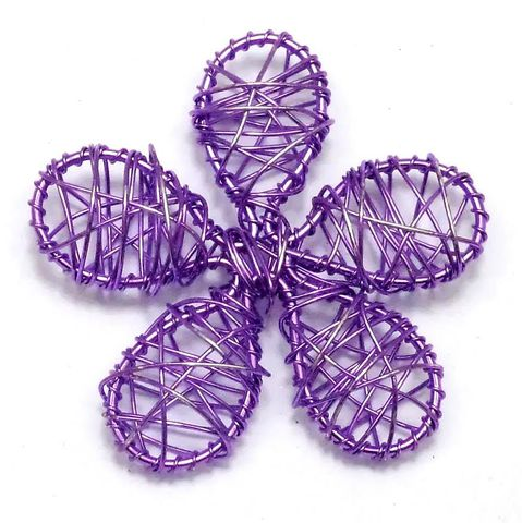 2 Wire Mesh Flower Beads Violet 55mm