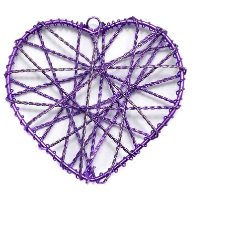 4 Wire Mesh Heart Beads Violet 60mm