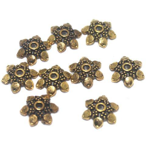 50 Pcs German Silver Golden Bead Caps 10x3mm