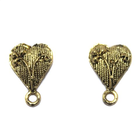 5 Pair German Silver Heart Earring Component Golden 13x12mm