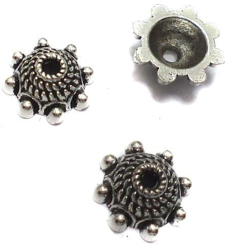 40 German Silver Beads Caps 4x9mm