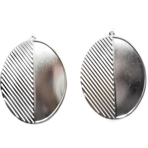 4 Ear Ring Round Componant Silver 48mm