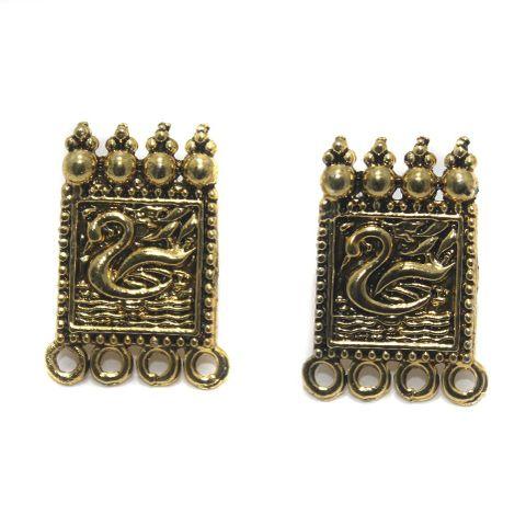 5 Pair German Silver Earring Component Golden 24x15mm