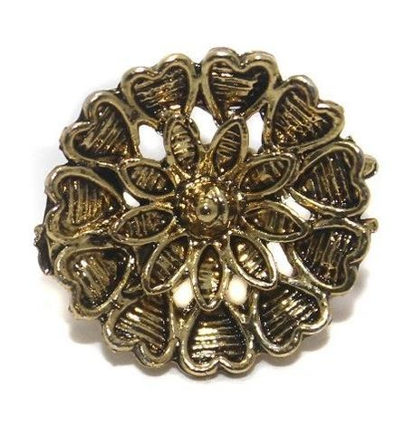 5 Pair German Silver Flower Earring Component Golden 17mm