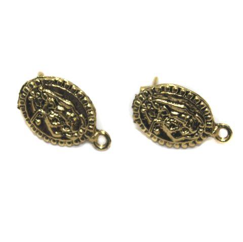 5 Pair German Silver Earring Component Golden 17x14mm