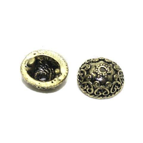 10 German Silver Beads Cap Golden 14x6mm