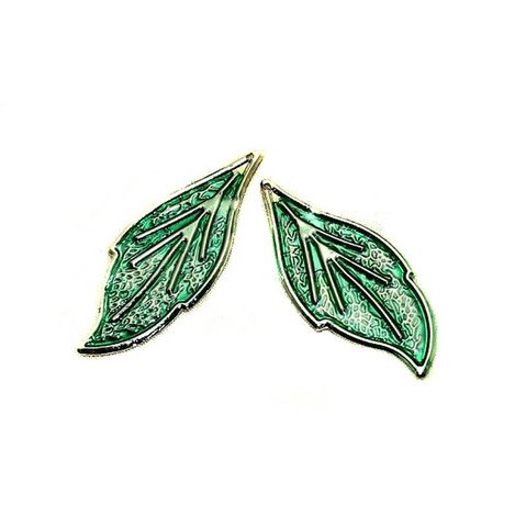 1 Pair Earring Leaf Component Silver 46x19mm
