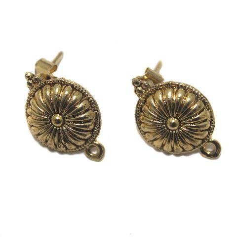 5 Pair German Silver Flower Earring Component Golden 15mm