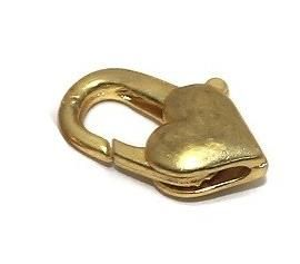20 Pcs. Lobster Heart Clasp Golden 15x9mm