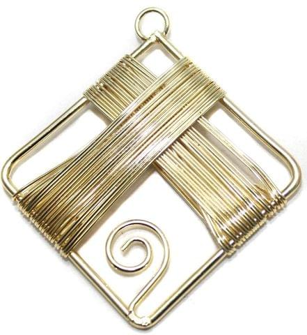 2 Pair Earring Components Wire Wrap Golden 50x50 mm
