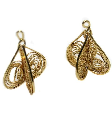 10 Earring Component Golden 28X20 mm