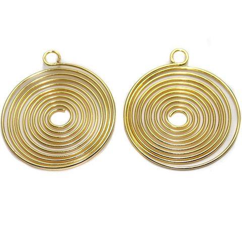 4 Earring Component Golden 38 mm