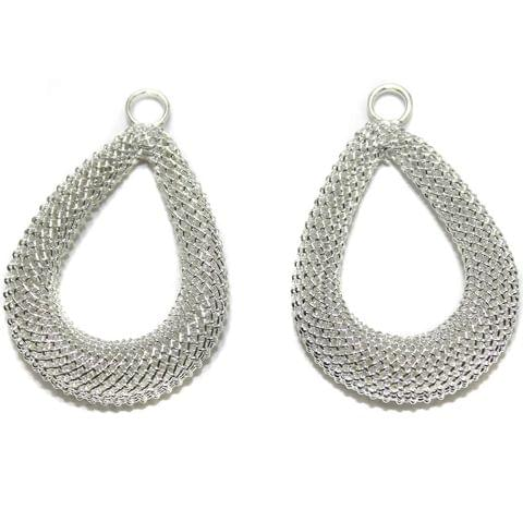 2 Pair Earring Components Silver 35x26 mm