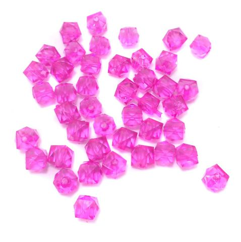 500 Pcs. Acrylic Faceted Crystal Cube Beads Trans Hot Pink 7mm