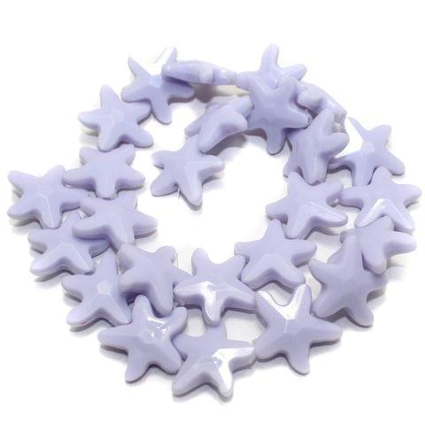 40+ Acrylic Star Beads Purple 19mm