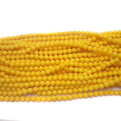 600+ Acrylic Round Beads Yellow 6mm