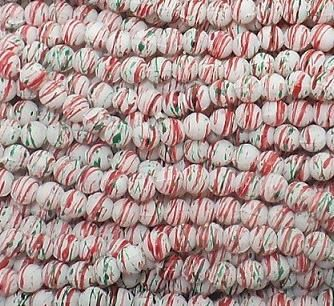 1120+ Acrylic Printed Round Beads Red And Green 5mm