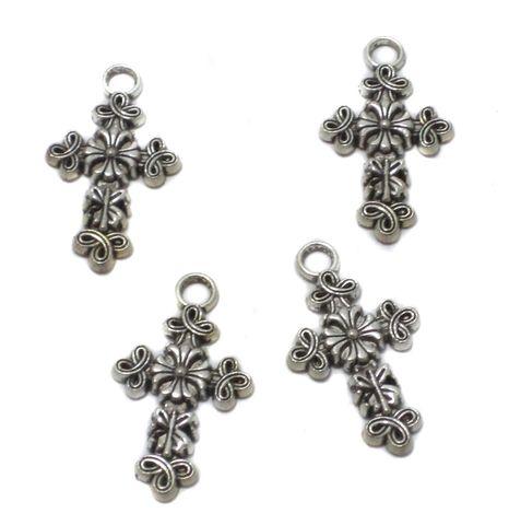 10 Pcs. German Silver Cross Pendants 30x18 mm
