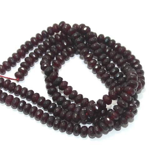 Faceted Onyx Stone Roundell Beads 6x4 mm, Pack Of 2 Strings Red