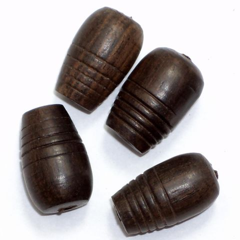 20 Wooden Carved Drop Beads 18x12mm