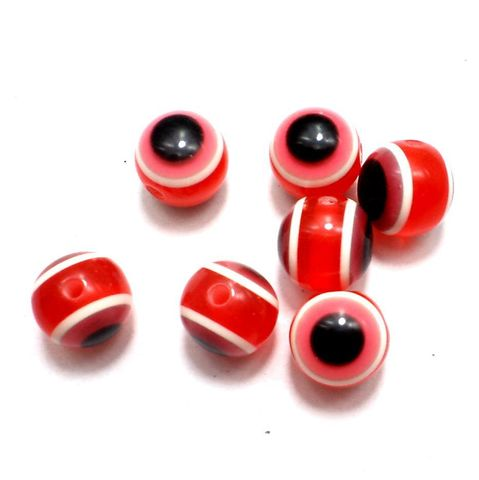 100 Acrylic Eye Round Beads Red 11mm