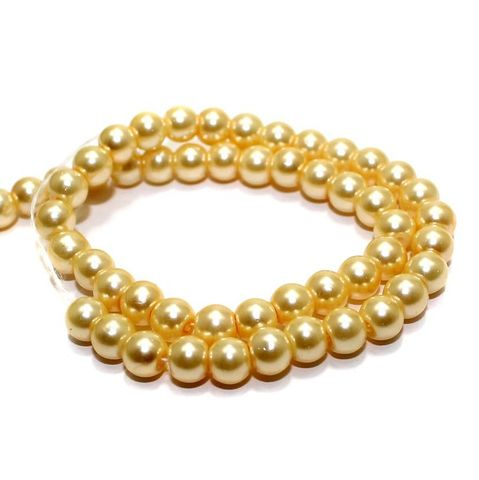 70+ Glass Pearl Round Beads Ivory 6 mm