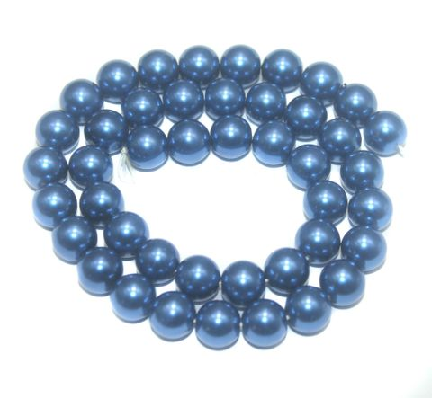 Faux Pearl Round Beads Blue 10mm, Pack of 1 Strings