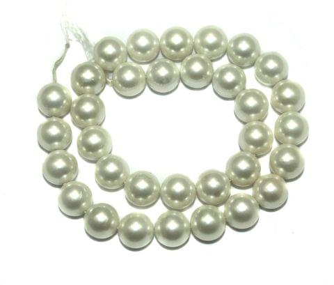 Natural Freshwater Round Pearl Beads White, Size 10mm, Pack of 1 String