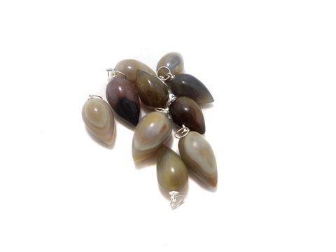 10 Pcs. Onyx Drop Stone Pendants 32x20 mm