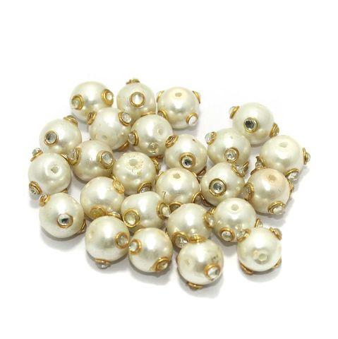 Glass Kundan Beads Round 10mm Off White