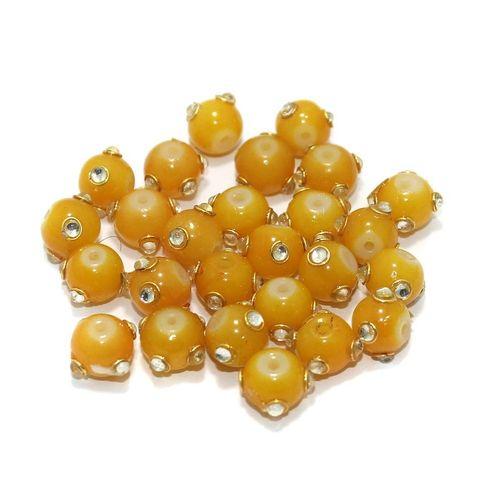 Glass Kundan Beads Round 10mm Yellow