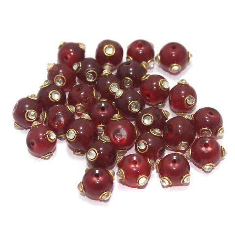 Glass Kundan Beads Round 10mm Red