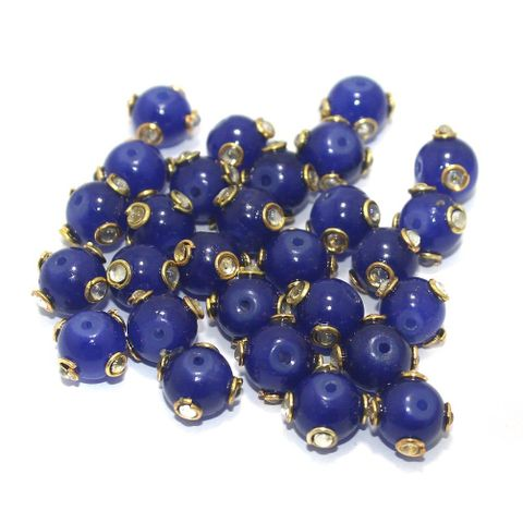 Glass Kundan Beads Round 10mm Blue