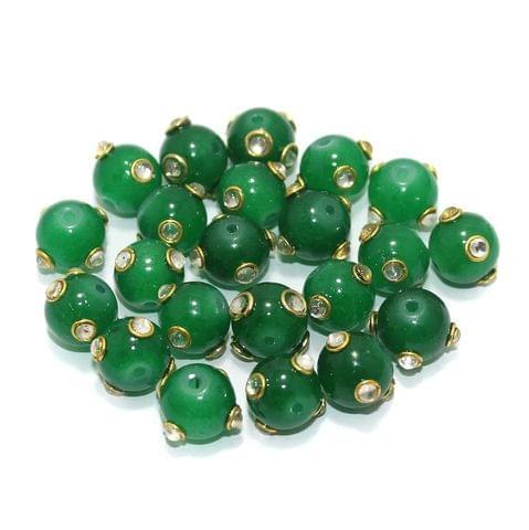 Glass Kundan Beads Round 10mm Green