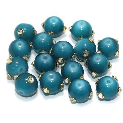 Glass Kundan Beads Round 12mm Teal