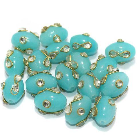 Glass Kundan Beads Oval 15x12mm Turquoise