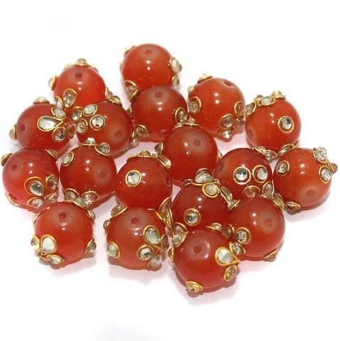 Glass Kundan Beads Round 12mm Orange