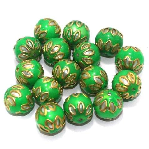 Meenakari Round Beads 12mm Parrot Green