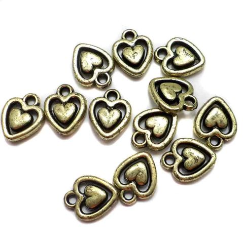 200 Gm Acrylic Heart Beads Golden Finish 14x10mm