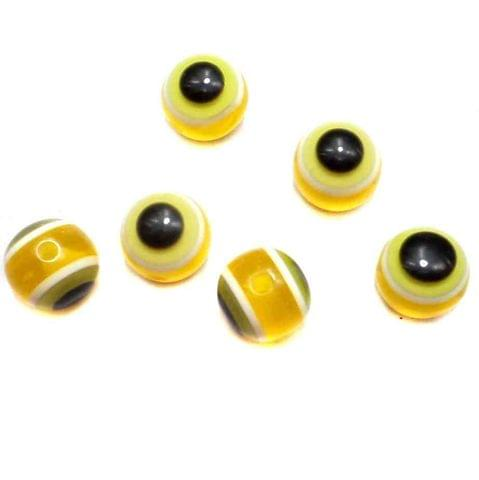 100 Acrylic Eye Round Beads Yellow 11mm