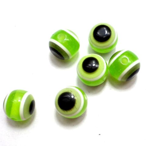 100 Acrylic Eye Round Beads Peridot 11mm
