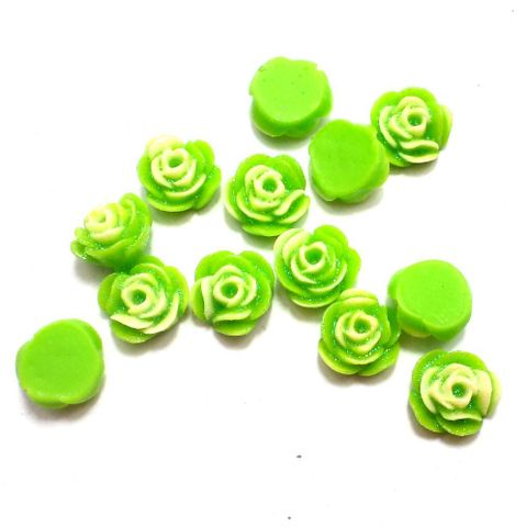100 Resin Ear Ring Rose Components Peridot With Out Hole 10 mm