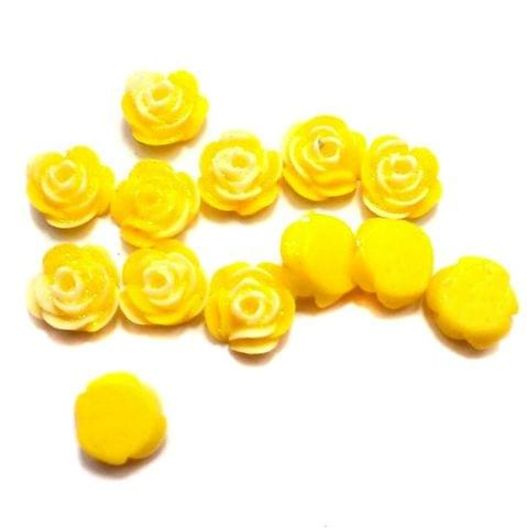 100 Resin Ear Ring Rose Components Yellow With Out Hole 10 mm