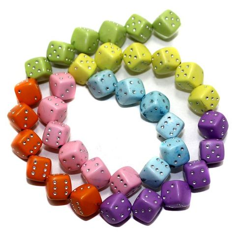 2 Strings Acrylic Cube Beads Assorted 8mm