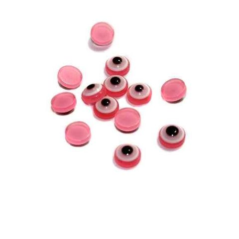 200 Eye cabochon Beads Pink 7 mm